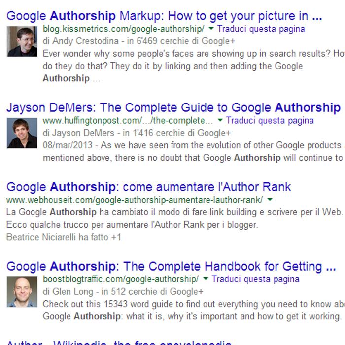 Come appare la Google Authorship nella SERP di Google