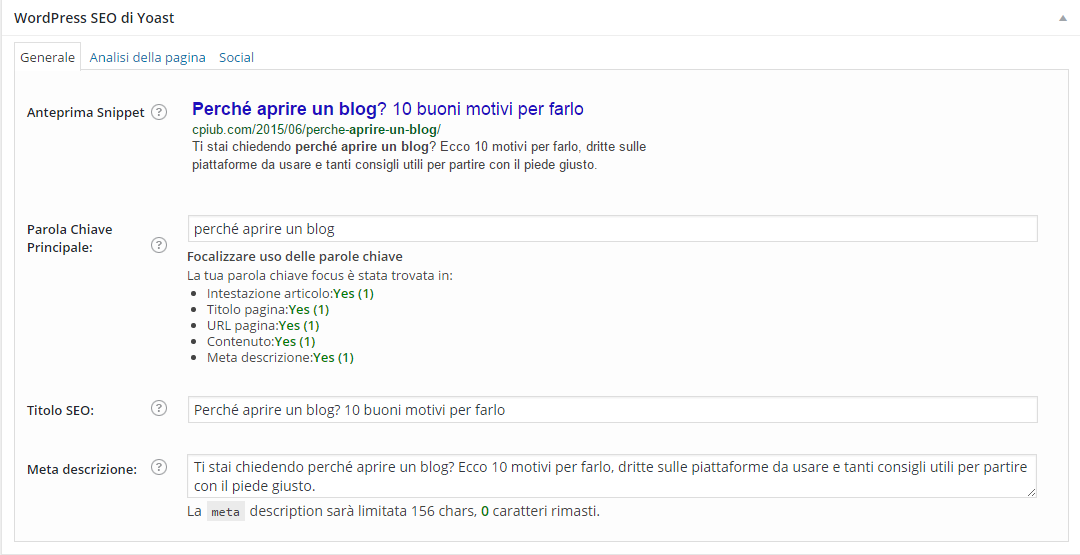 Come ottimizzare un post con WordPress SEO by Yoast