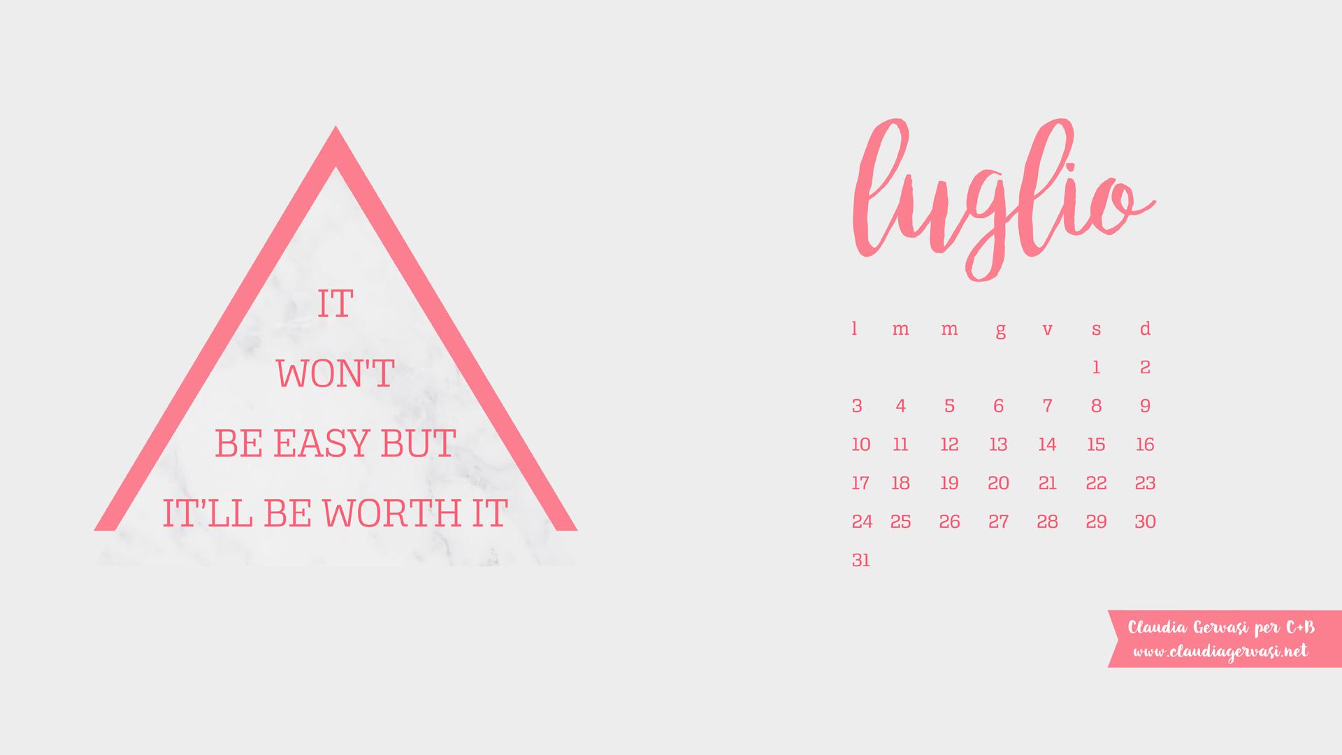 Calendario Luglio Agosto.Desktop Scaricabili Luglio Agosto 2017 C B