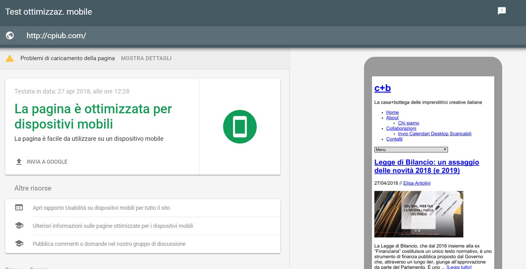 sito mobile friendly test